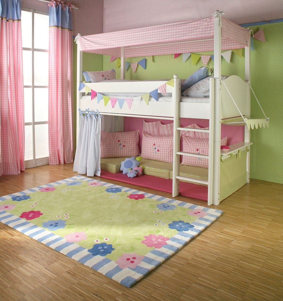 Girls Cabin Bed With Canopy Curtains And Cushions The