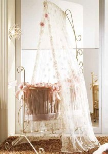 Eloise Iron Cradle with Lace Canopy