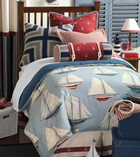 Red and Blue Nautical Duvet Set for Boys