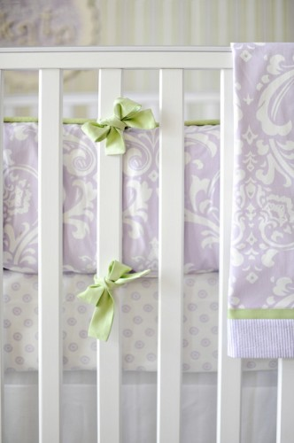 Lavender and green cot bumper