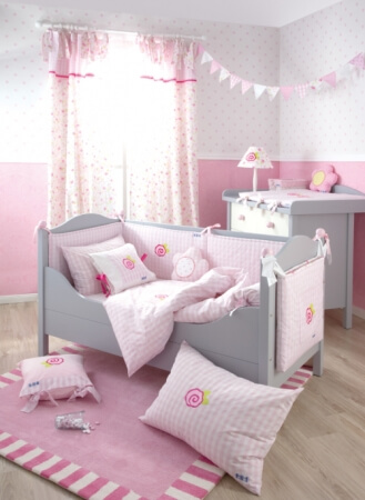 Pink and Grey Toddler Bedroom