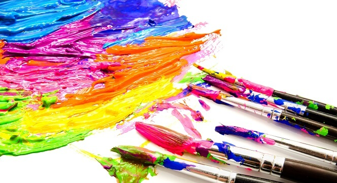 Paints and brushes isolated on a white background