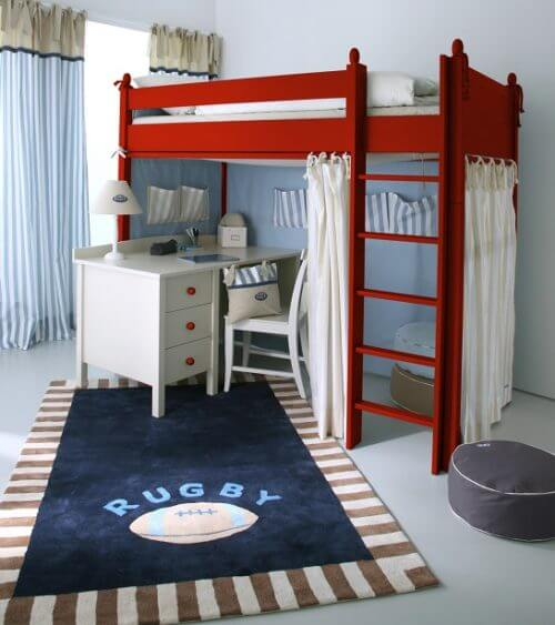 Red Hig Sleeper with cream desk