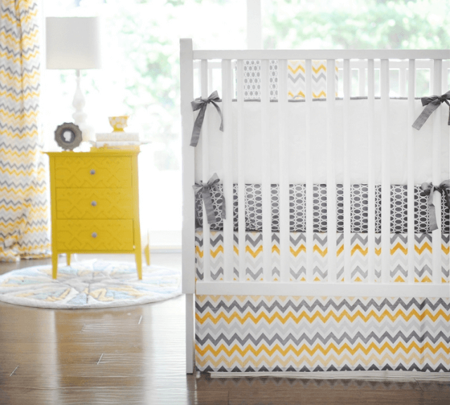 yellow-and-gray-chevron-cot-bedding